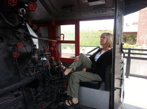 Diane in the Union Pacific train at Pivot Point in Yuma