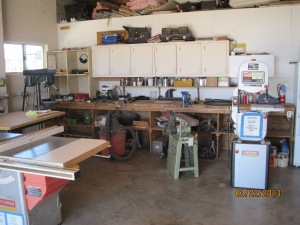 They have a nice shop here at the park. Drill press, table saw, bandsaw, a bunch of hand tools and acc. Mainly a wood working shop.