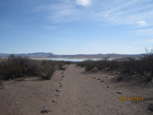 Walking trail by Elephant Butte Lake