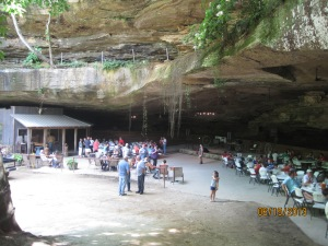 You can see the saloon on the left and the eating area in the (cave) to the right.