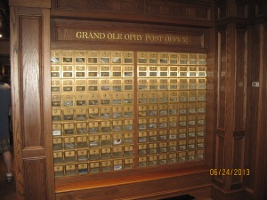 Every Grand Ole Opry member has a mailbox at the Grand Ole Opry. When they come to perform they check there mail after signing in