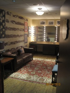 This is one of the dressing rooms back stage