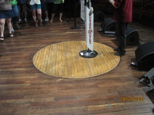 The circle of oak was moved from the Opry's original home at the Ryman Auditorium into the Grand Ole Opry House in 1974. It was covered by 47 inches of water during the flood and was the only part of the stage that was saved.