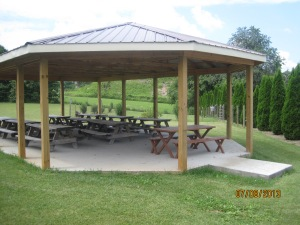 A nice gathering area and the dog run is just beyond it in the nice grassy area.