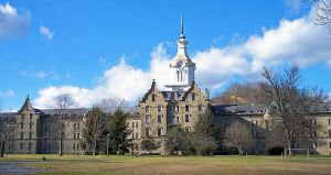 The Trans- Allegheny Lunatic Asylum. Authorized as a asylum in 1864. This is the largest hand cut stone building in America