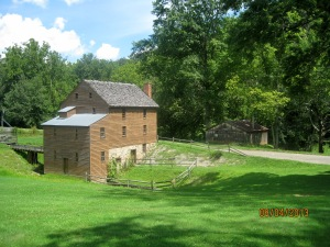 Blaker's Mill with the Blacksmith Shop in the background.