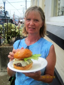 Look at the size of Diane's burger!! I had to help her finish it,,, after we got rid of the rabbit food LOL!!