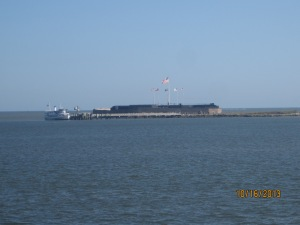 The fort as we approached on the boat. As we pulled up the tour boat you see left.