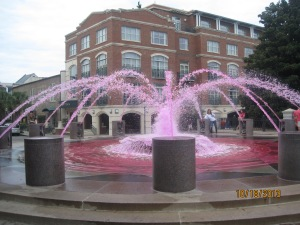 The fountain is running pink because of Breast Cancer Awareness