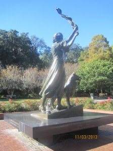 The Waving Girl Statue erected in 1972. Florence Martus became known as the waving girl by sailors around the world. Google her for more info.
