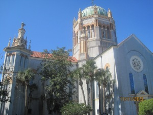 The Flagler Memorial Presbyterian Church was built by Henry Flagler in 1889. It is one of his most significant projects, because it was constructed as a memorial to Flagler's only daughter, Jenny. Flagler's masterpiece features hand-carved Santo Domino mahogany, detailed terra cotta frieze work by Italian artists and a massive copper dome.