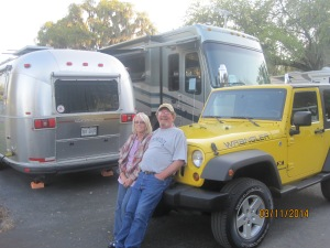 Roger and Lynn. They traded in the Airstream for the Beaver motorhome. AND traded in the truck they had for the Jeep. Talk about making the move.