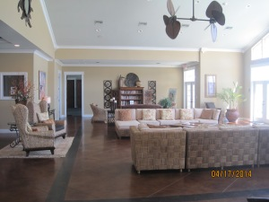 Just half of the sitting area in the clubhouse