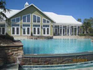 The rear of the clubhouse and pool.