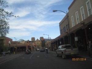 A shot while driving in downtown Santa Fe