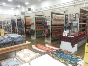 This is actually inside the Pendleton Woolen Mills in Milwaukee Oregon. If you are a handy person you an by the fabric and make you're own stuff and save money.