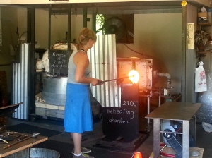 We ran across this glass blower hard at work. I walked in her shop for a minute but soon found my way back out to the breeze. It was HOT in there.
