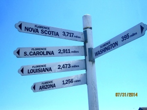 I just thought this sign showing how far it is from Florence Oregon to other towns named Florence