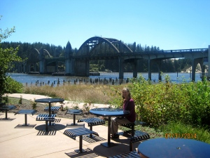 The Siuslaw River Bridge is in the background. (Florence Oregon)