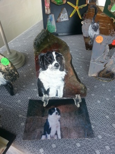 This lady does paintings on rock. She does a great job of doing pets.
