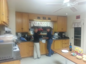 Diane and Maxine working hard in the kitchen at the Ranch House getting ready for Christmas Dinner.