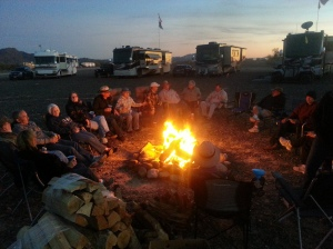Just one of many nights around the fire with the Tiffin group. That's Diane with her back to the camera in the hat.