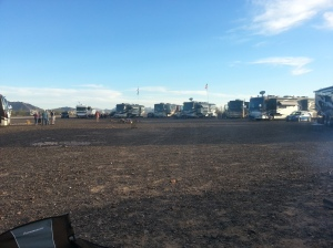 A few of the rigs with the Tiffin group with the fire pit in the middle. That's us to the right.