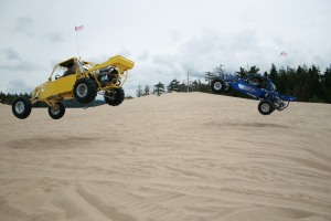 That's me in the yellow buggy and Maurice in the blue having a little fun.