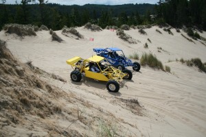 Diane in our yellow buggy and Bonnie in the blue one chilling