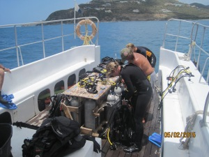 Getting ready for a dive at St. Maarten