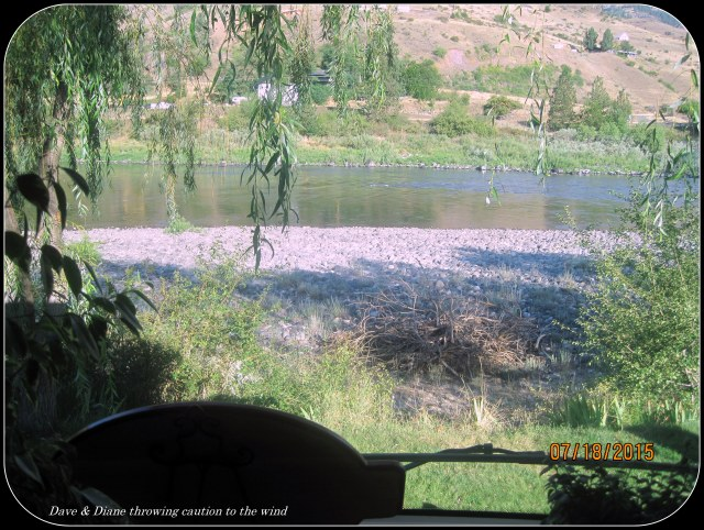 View out our windshield while camped at the Swift Water RV Park in White Bird Idaho