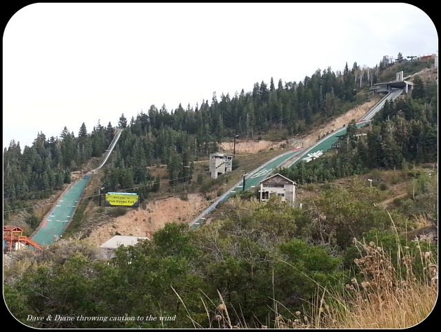 Downhill ski jumps at the Olympic Village in Park City Utah