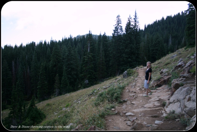 The trail looks pretty much like this all the way to the lake except a lot steeper.