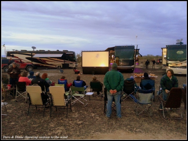Movie night in the desert. It's tough roughing it but we manage I guess.