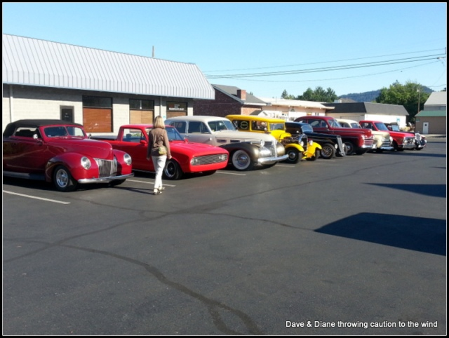 It's not uncommon to go out to breakfast or even drive by a DQ on a nice summer evening and see old cars lined up. This batch was at the Train Depot one morning while we were meeting our friends Sue & Jim for breakfast.