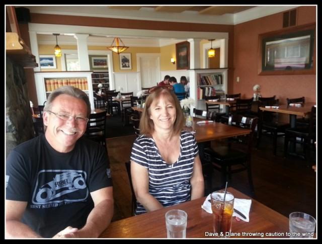 Bob & Karen. Having lunch at McKay Cottage.