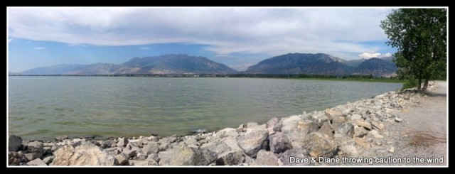 Utah Lake right behind our campground