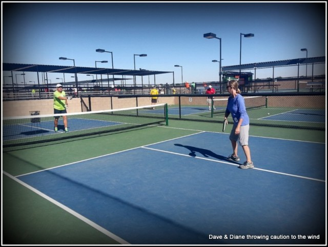 That's our friend Steve working with Diane on her backhand. Steve has been playing Pickle ball for years and was one of the 4 coaches helping 15 of us that were taking the lesson.