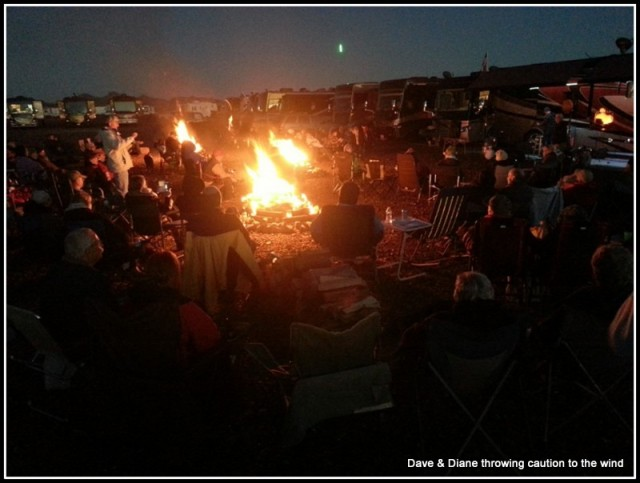 The band was setting up by the coach to the right and everyone was gathered around 3 large fires getting ready to party. 2 smaller fires were also burning a little ways away for those that didn't want to be right by the band. A great night.