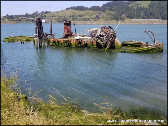 This old ship lies just off shore at Gold Beach