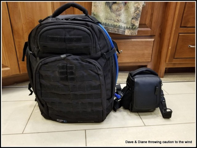 "The backpack on the left hold the old toy ""The Phantom"" and is what I would strap on my back to hike in to get shots and the pack on the right is what I will need to carry with the Mavic. So question,,,, which would you rather lug around LOL!!"
