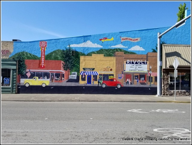 One of the many murals painted on the side of buildings in Grants Pass