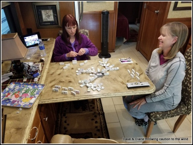 Playing a rip roaring game of Chicken Foot Diane & her sister.