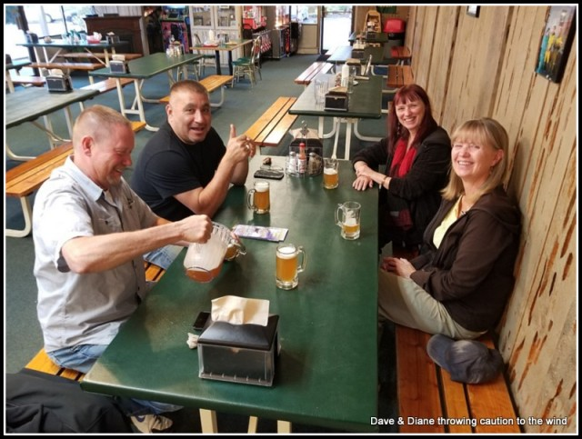 Pizza and beer at Baci's with Diane's family.