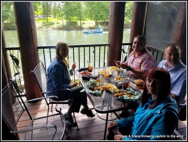 Having lunch at Taprock along the Rogue River in Grants Pass