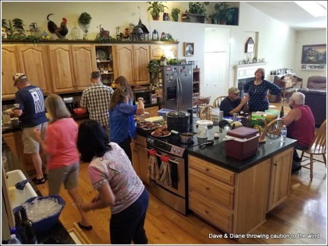 Having a feast at Rob & Tina's house.