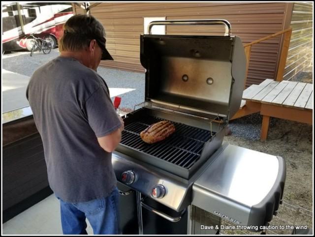 Bob tending to the Pork Loin