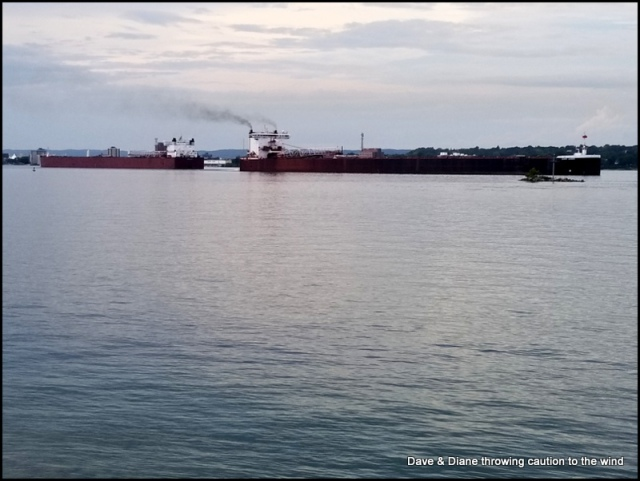 2 ships passing by.