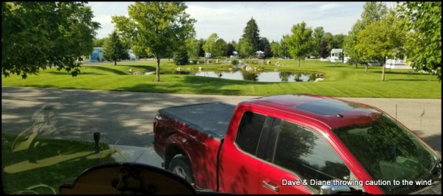 View from our windshield at the Petoskey RV Resort