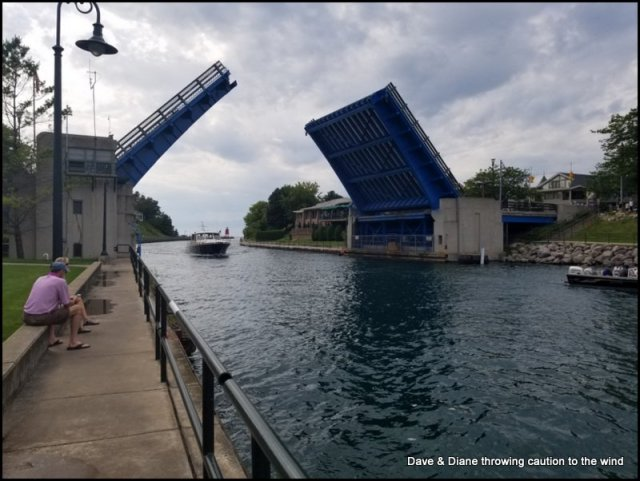 Charlevoix, this bridge raises every 30 minutes and can sure back up traffic on a busy day. We will be driving over that when we head to our next stop.